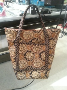 brown quilted tote bag