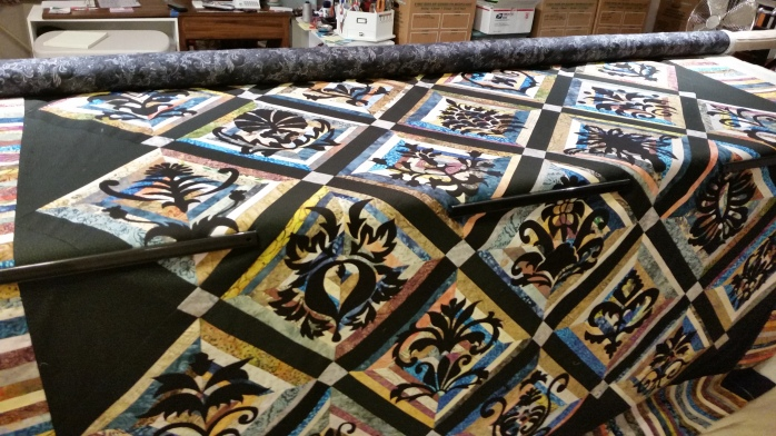 Wedding Quilt on the frame