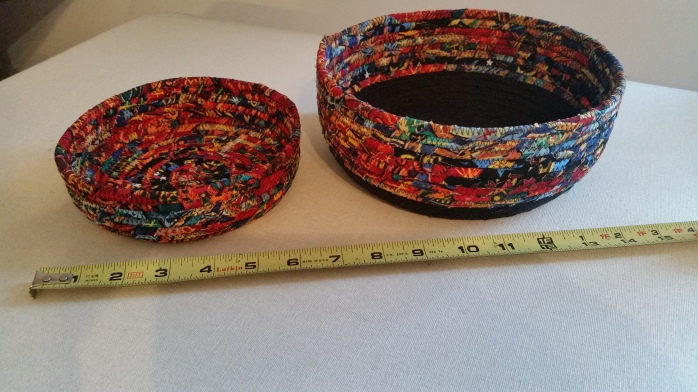 black and multi colored rope bowls